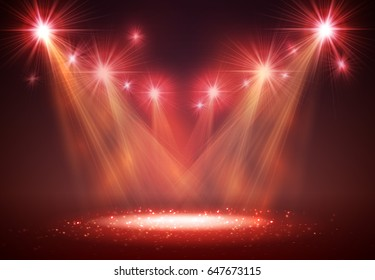 Spotlight on stage with smoke and light. Vector illustration.