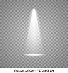 Spotlight on stage. Volume light on transparent background.