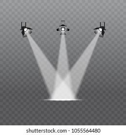 Spotlight on a transparent background. Bright lighting with spotlights. The spotlight illuminates the scene.