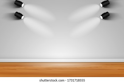 spotlight on the white wall in the room