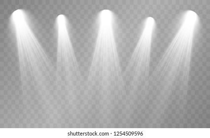Spotlight. Rays of light isolated on transparent background. Sun flash. Vector illustration