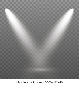 The spotlight shines on the stage. light exclusive use lens flash light effect. light from a lamp or spotlight. lighted scene. podium under the spotlight.Set of white spotlight isolated.