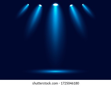 spotlight shines on the stage, scene, podium. Bright lighting with spotlights. Spot lighting of the stage. Lens flash light effect from a lamp or spot