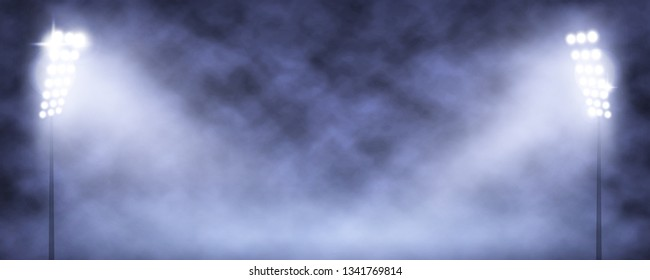Spotlight Towers on Night Stadium in Smoke. Bright Spotlights Flash Flare in Blue Fog Vector Illustration