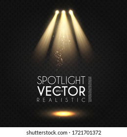 Spotlight. Transparent light effect. Show design. Light source. Empty scene.