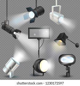 Spotlight vector light show studio with spot lamps on theater stage illustration set of projector lights photographing movie equipment isolated on transparent background