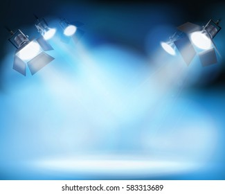 Spotlighting on the stage. Vector illustration.