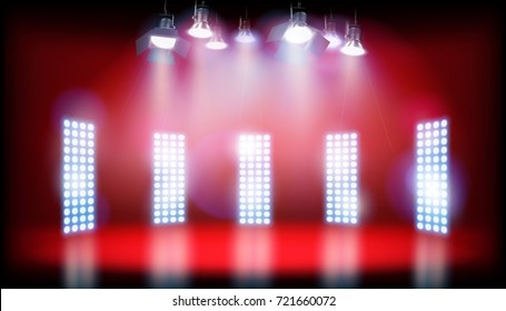 Spotlighting on the stage. Vector illustration.