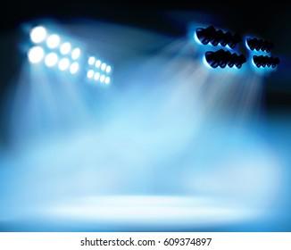 Spotlighting at the stadium. Vector illustration.