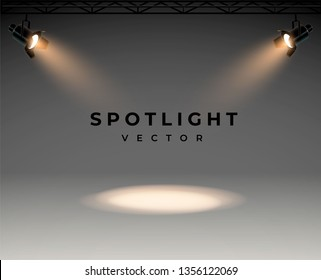 Spotlights with bright white light shining stage vector set. Illuminated effect form projector, illustration of projector for studio illumination