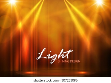 Spotlights & empty scene. Illuminated design. Vector illustration.