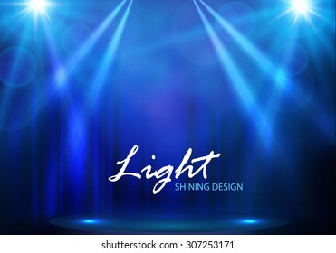 Spotlights & empty scene. Illuminated design. Vector illustration.