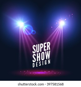 Spotlights empty scene. Illuminated stage design. Show background with lights special. Stage spotlight