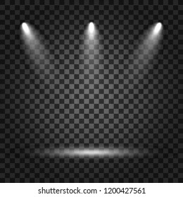 Spotlights with light beams on transparent background. Realistic spotlights for theater, photo studio, concerts. Vector stock illustration.