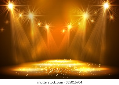 Spotlights on stage with smoke  light. Vector illustration.