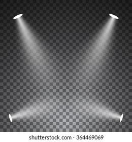 Spotlights on transparent background. Vector illustration.