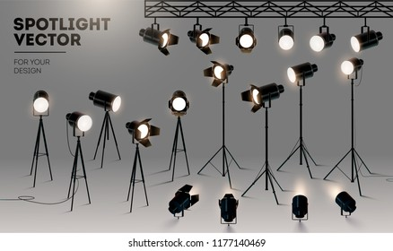 Spotlights realistic transparent background for show contest or interview vector illustration eps 10