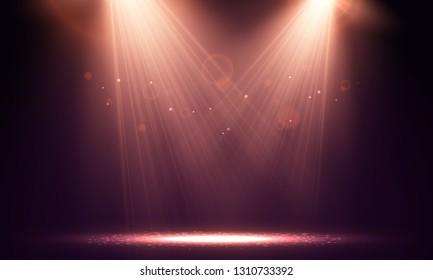 Spotlights. Scene for presentation illuminated by spotlights. Vector  illustration.