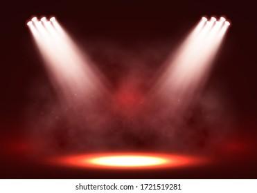 Spotlights. Scene for presentation illuminated by spotlights with smoke. Vector illustration.