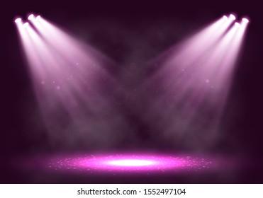Spotlights. Scene for presentation with smoke illuminated by spotlights. Vector illustration.