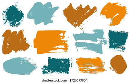 Spots and stains paint brush strokes vector band. Grunge texture dirty graphic design elements. Craft ink daubs on white background.