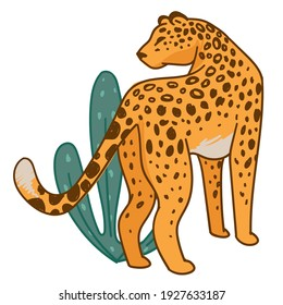 Spotted big cat, feline animal wit fur with spots and long tail. Isolated cheetah in natural habitat, zoo or national park caring for cheetah. Flora and fauna wilderness unity. Vector in flat style