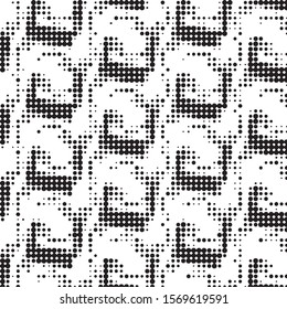 Spotted black and white grunge vector line background. Abstract halftone illustration background. Grunge grid polka dot background pattern