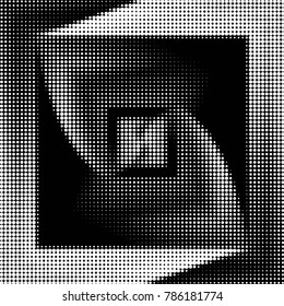 Spotted Black And White Grunge Vector Line Background Abstract Halftone Illustration Grid