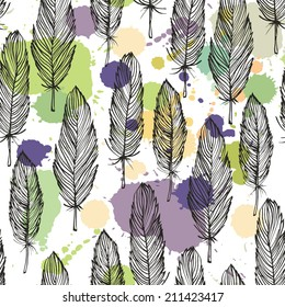 Spotted colored feather seamless pattern, vector background