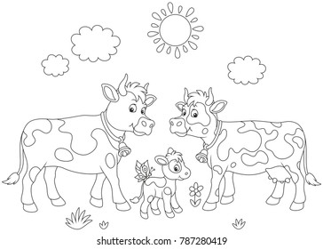 A spotted cow, a bull and a small calf, a black and white vector illustration in cartoon style for a coloring book