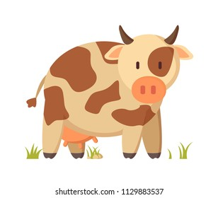 Spotted cow funny character in cartoon style on white background poster. Vector farm animal on grass depiction for book or magazine illustration.