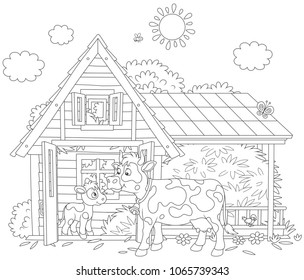 Spotted cow and her small calf near their barn on a milk farm, a black and white vector illustration in a cartoon style for a coloring book