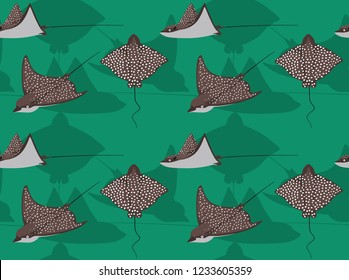 Spotted Eagle Ray Cartoon Background Seamless Wallpaper