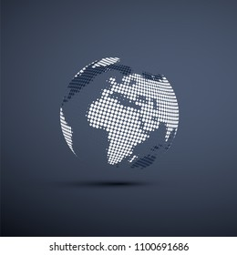 Spotted Earth Globe Design - Global Business, Technology, Globalization Concept, Vector Design Template
