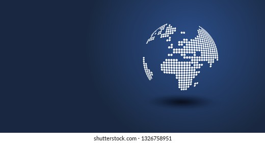 Spotted Earth Globe Design - Global Business, Technology, Globalisation Concept, Vector Design Template