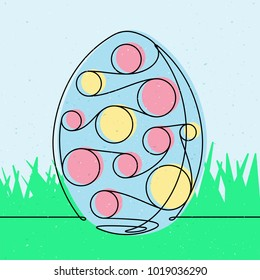 Spotted Easter egg Continuous Line Vector