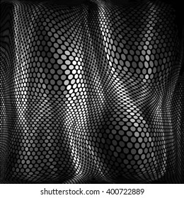 Spotted halftone line vector illustration. Abstract grunge monochrome polka dot 3d background pattern.