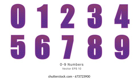Spotted purple numbers, 0-9 numerals