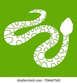 Spotted snake icon white isolated on green background. Vector illustration