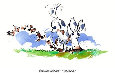 A spotty dog digging a muddy hole