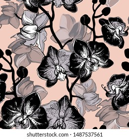 Spotty and exotic black orchid floral garden flower tropical mood. Seamless pattern drawn by hand in vector design for fashion, fabric, wallpaper and all prints on soft pink background color.