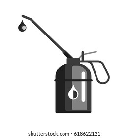 Spout oiler can applicator, used for fill lubricant oil into the rotate point of machine. Oil industry equipment, flat vector illustration isolated