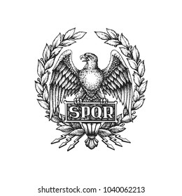 SPQR symbol of Roman Empire with Aquila eagle and laurel wreath. Hand drawn vector illustration isolated on white background