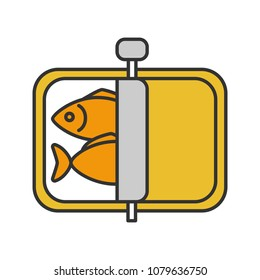 Sprats color icon. Canned fish. Isolated vector illustration