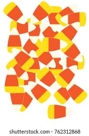 Sprawled pieces of candy corn candies.
