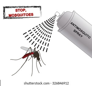 spray anti mosquitoes illustration. Anti mosquito spray. silhouette mosquitoes. Mosquitoes spray isolated on white background. Vector illustration