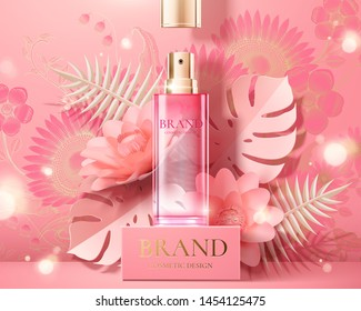 Spray bottle ads on square stage with pink paper flowers in 3d illustration