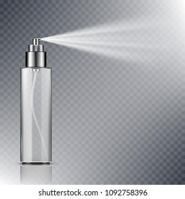 Spray bottle, blank container with spraying mist isolated on transparent background