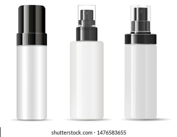 Spray Bottle Cosmetic Package Mockup. Plastic Container Blank with Mist Cap. Perfume Deodorant Product without label. Empty Round 3d Design for Aerosol Merchandise Presentation. Cosmetics Dispenser