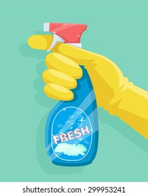 Spray bottle in hand. Vector flat illustration